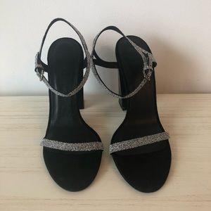 Zara Glitter Chunky Heeled Sandal